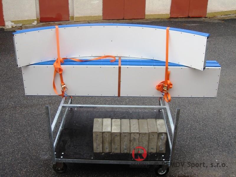 Mobilní mini mantinely - transportní vozík