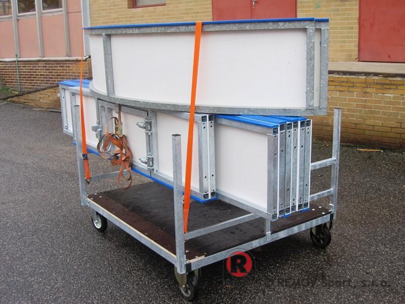 Mobilní mini mantinely - transportní vozík pro přepravu